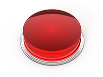 Red glass button. Blank red glass button - 3d render Royalty Free Stock Photos