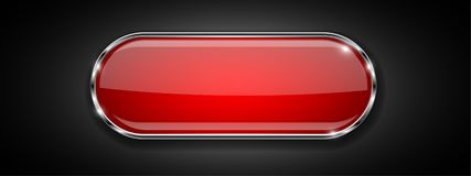 Red glass button on black background. Shiny 3d icon with metal frame. Vector illustration vector illustration
