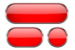 Red glass buttons with chrome frame. 3d icons. Vector illustration isolated on white background Royalty Free Stock Image