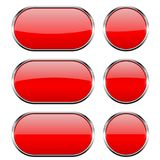 Red glass buttons with chrome frame. 3d icons. Vector illustration isolated on white background Royalty Free Stock Photos