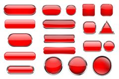 Red glass buttons. Collection of 3d icons with and without chrome frame. Vector illustration isolated on white background stock illustration