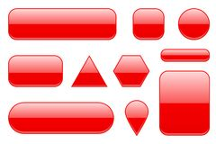 Red glass buttons. Geometric shaped 3d icons set. Vector ilustration isolated on white background Stock Image