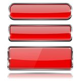 Red glass buttons with metal frame. Set of 3d icons. Vector illustration isolated on white background Stock Photography