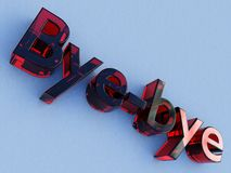 Red glass bye-bye logo. A bye-bye logo made of red glass or crystal on a neutral light blue background Stock Photo