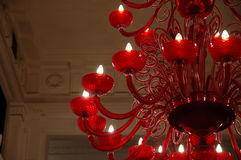 Red glass chandelier Stock Images