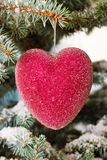 Red glass Christmas hearts Royalty Free Stock Photos