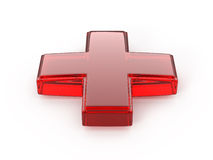 Red Glass Cross. Isolated On White Background - 3d render Royalty Free Stock Photos