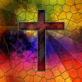 Red Glass Cross on stained glass window panel. With rays of light shining through leaded lines stock illustration