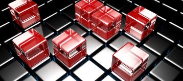 Red glass cubes on black cubed surface - 3D rendering. A surface made with black glossy cubes and some red glass cubes over it - 3D rendering illustration Stock Photos