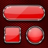 Red glass 3d buttons with chrome frame on metal perforated background. Vector illustration stock illustration