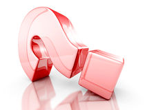 Red Glass 3d Question Mark. 3d Render Illustration Stock Image