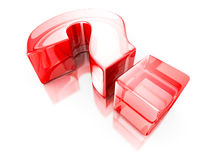 Red glass 3d question mark. 3d Render Illustration Stock Photography
