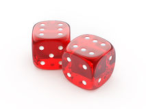 Red glass dice. On a white background - 3d render Stock Photo