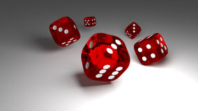 Red glass dices rendered on the white background.3d. Royalty Free Stock Photo