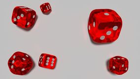 Red glass dices rendered on the white background.3d. Stock Photography