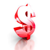 Red glass dollar symbol on white background Stock Images