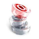 Red glass at e-mail icon symbol on white background Royalty Free Stock Images