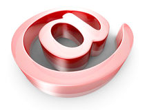 Red Glass AT E-mail Symbol Stock Photo