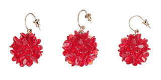 Red glass earrings. Isolated on white background Stock Image