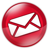 Red glass email button Stock Images