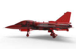 Red glass fighter jet. 3D render illustration of a red glass fighter jet. The object is  on a white background with shadows Stock Image