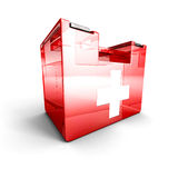 Red glass first aid kit on white background Royalty Free Stock Images