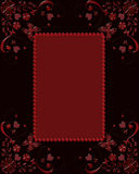 Red glass frame with butterflies and hearts Stock Photos