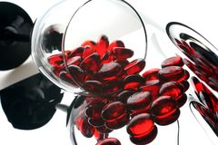 Red Glass Half Marbles Stock Image