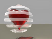 Red glass heart Royalty Free Stock Images