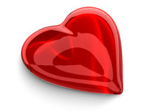 Red glass heart. Isolated on white Stock Illustration