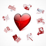 Red glass heart with cardiogram and Medical Royalty Free Stock Photography