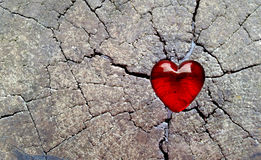 Red Glass Heart on Cracked Timber Royalty Free Stock Photo