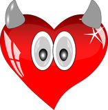 Red glass heart with eyes and horns. Stock Image