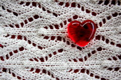 Red Glass Heart on Lace Background Royalty Free Stock Photos