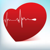 Red glass heart with normal cardiogram. EPS 8 Stock Photography