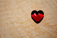 Red Glass Heart on Timber Royalty Free Stock Photo