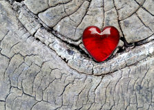 Red Glass Heart on Vintage Wood Stock Images