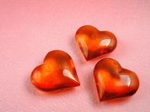 Red glass hearts Royalty Free Stock Images