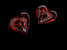 Red glass hearts royalty free stock photo
