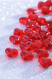 Red glass-hearts Stock Images