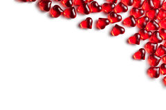 Red glass hearts on white background Royalty Free Stock Photos