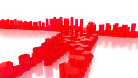 Red glass hexagon towers on white. 3d render vector illustration