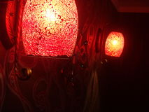 Red glass lamps Stock Images