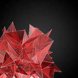 Red glass  modern triangular shape on a black backgroun Royalty Free Stock Photos