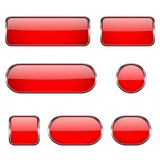 Red glass oval, round, square buttons with chrome frame. 3d icons. Vector illustration isolated on white background Royalty Free Stock Photography