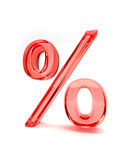 Percent sign on white background. 3d illustration of red glass percentage sign isolated on white background Stock Photo