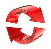 Red glass reload symbol. 3d red glass reload symbol Royalty Free Stock Photography