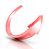 Red glass round arrow on white background Royalty Free Stock Images