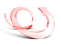 Red glass spiral arrow on white background. 3d render illustration Royalty Free Stock Photography