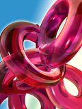 Red glass toroids. And spiral Royalty Free Stock Photos